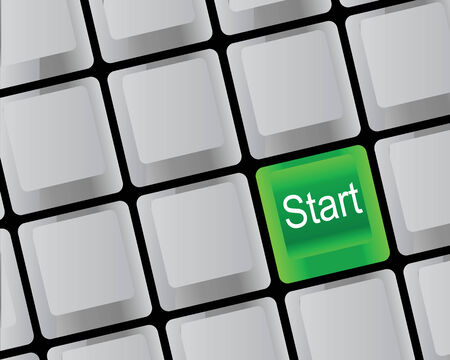 grope: Green key on the keyboard of the computer