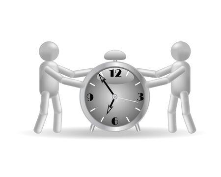정오: The people and clock on a white background 일러스트