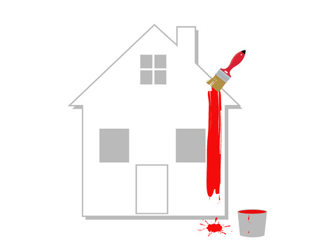 immovable property: The house with a red paint on a white background Illustration