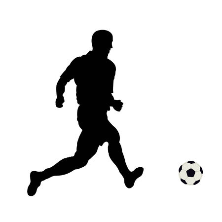 The running footballer on a white background