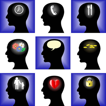 brain food: Thoughts of the man and black silhouette of a head