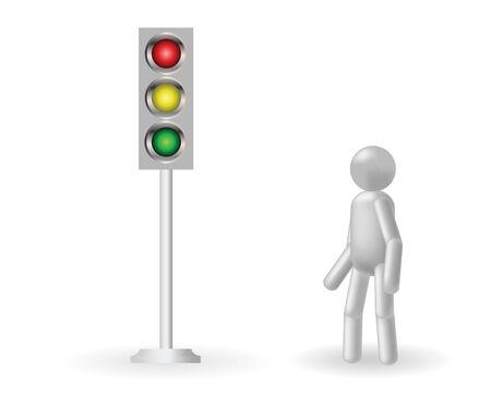 traffic control: El hombre gris se encuentra sobre un sem�foro