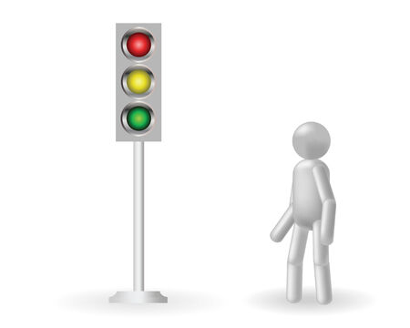 way to go: The grey man stands about a traffic light