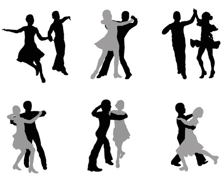 merriment: Silhouettes of the dancing men and women on a white background Illustration