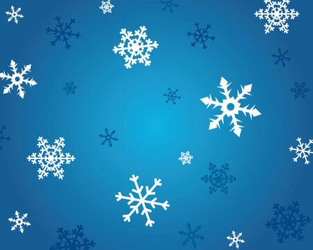 Dark blue winter background with white snowflake Vector