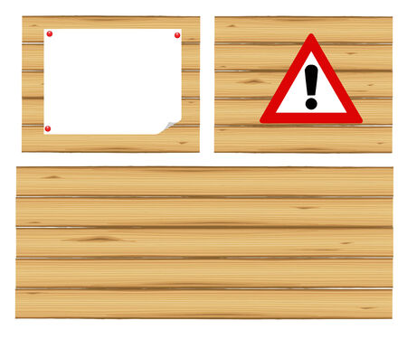 Wooden shield for the announcements on a white background Vector