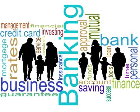 Bank business for young families and children photo