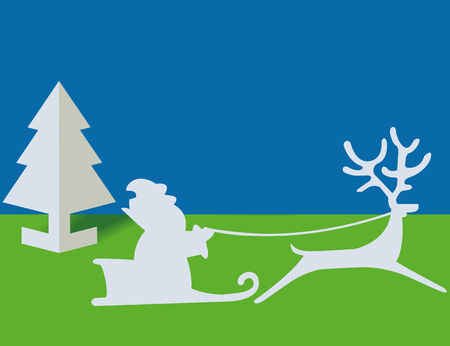 The sledge and deer from a paper carries gifts Vector