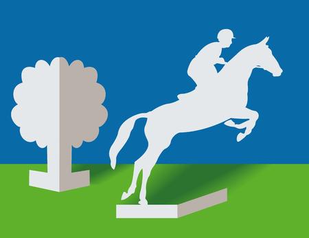 Jinete de silueta y caballo de un documento