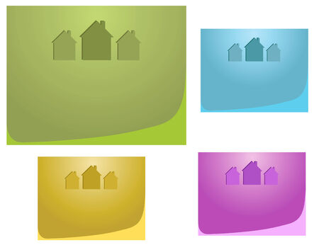 immovable: Set of  three houses on multicoloured backgrounds