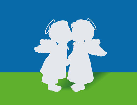 Two angels from a paper are kissed Vector