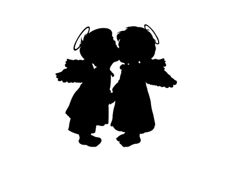 Two childrens silhouettes with wings on a white background