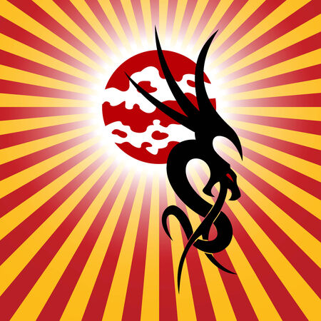 flying dragon: Chinese dragon and sun on a red background Illustration