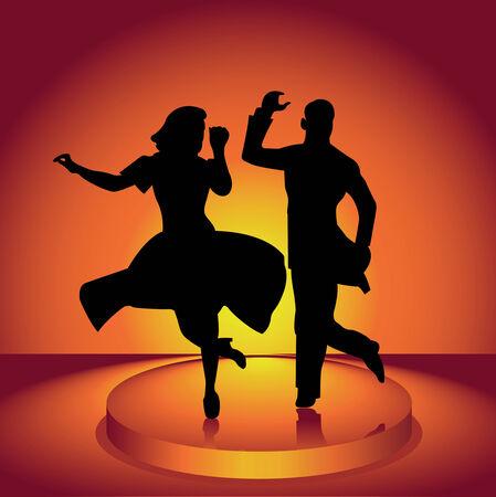 jazz dancer: The man and woman dance a jazz