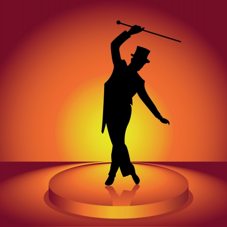 The man in a hat dances tap-dancing
