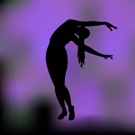 joga: Silhouette of the woman on a colored background