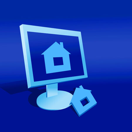 immovable property: Model of a house and computer on a blue background