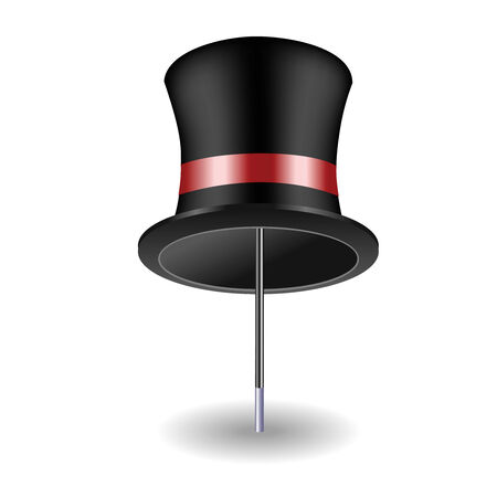 conjurer: Hat and cane on a white background Illustration