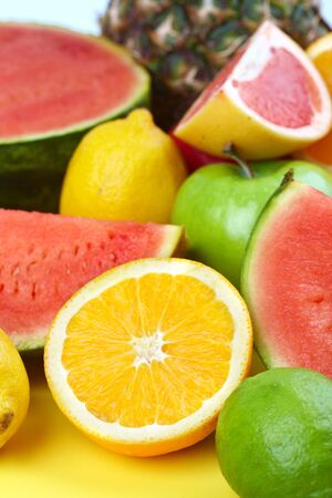 Vegetables and fruits. Apple, orange,  plum, lemon, watermelon, pear 
