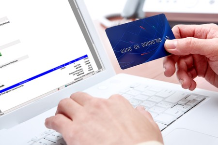 pay bills: Woman hands, white laptop, credit card, shopping online payment