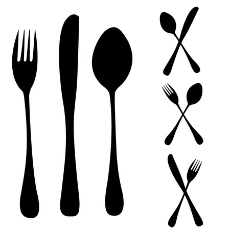 knife fork spoon: Silhouettes of subjects for kitchen and for meal