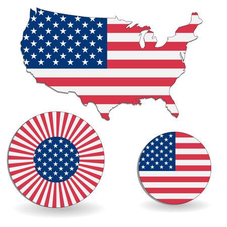 illustrierte: Die amerikanische Flagge und die Karte auf wei�em Hintergrund