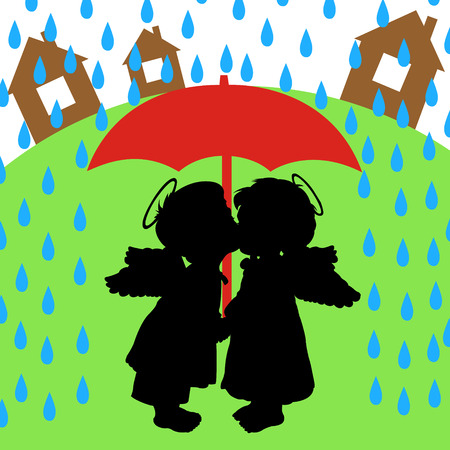 The boy and girl are kissed under a red umbrella