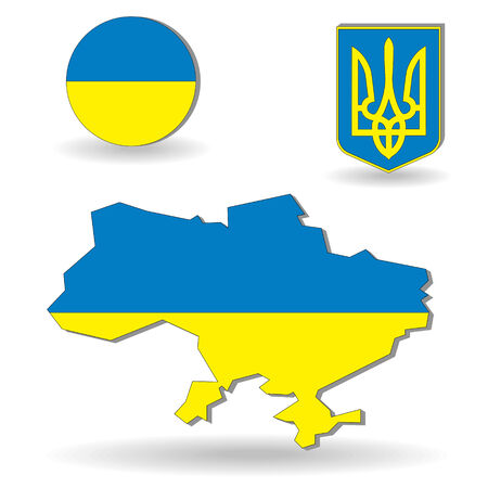 The Ukraine flag and map on a white background Vector