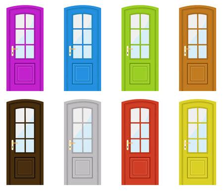 Reeks van veelkleurige deuren op een witte achtergrond