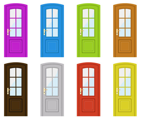 glass door: Set of multicoloured doors on a white background Illustration