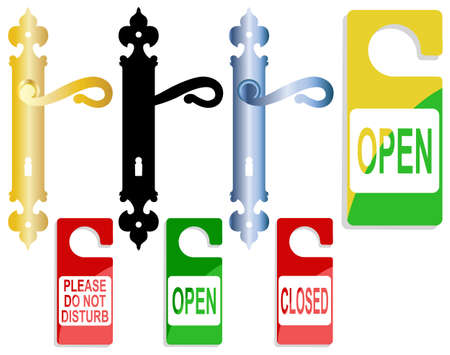 Handles of a door and inscription for hotel Stock Vector - 8078059