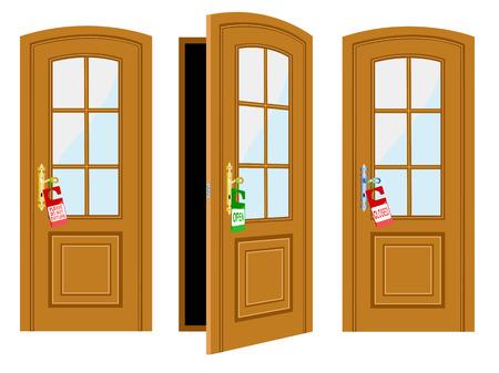 puertas de cristal: Puerta e inscripci�n para hotel sobre un fondo blanco