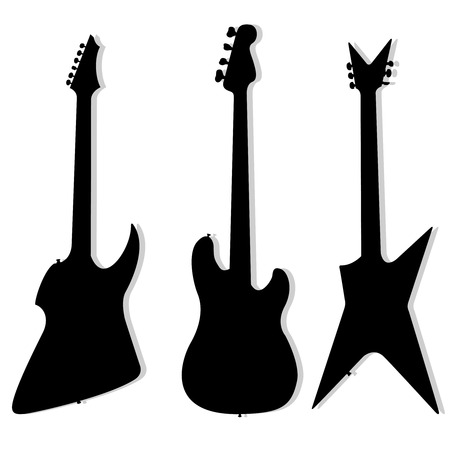 black shadow: Silhouettes of electrical guitars on a white background