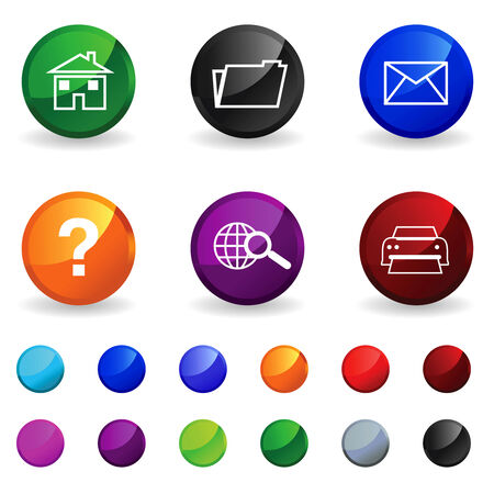 bal: Set of multicoloured buttons for the computer  Illustration