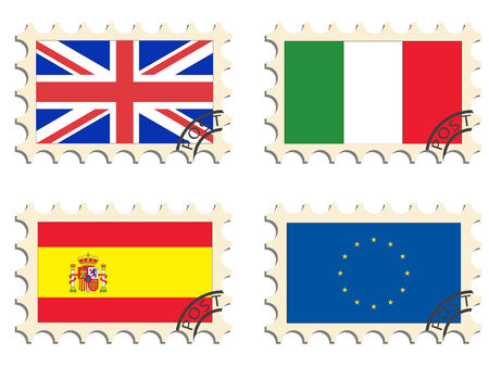 The post stamps and flags of the countries Vector