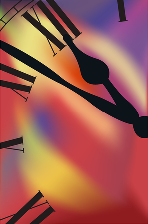in midnight: Hour-hand and midnight on a colored background Illustration