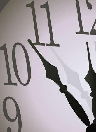 정오: Hour-hand and midnight on a grey background