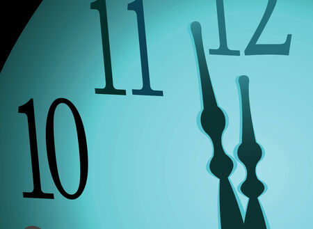 midnight hour: Hour-hand and midnight on a blue background