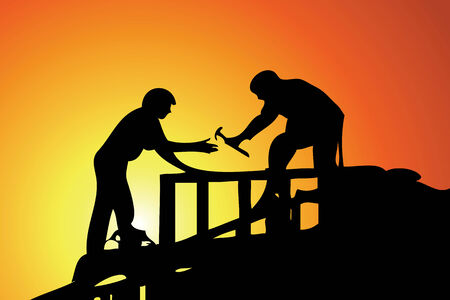 building construction: House building on a background orange sunset Illustration