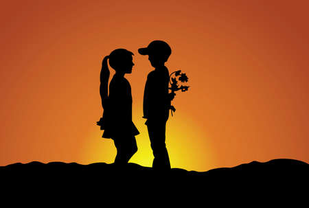 Silhouette of the boy and girl. Friendship