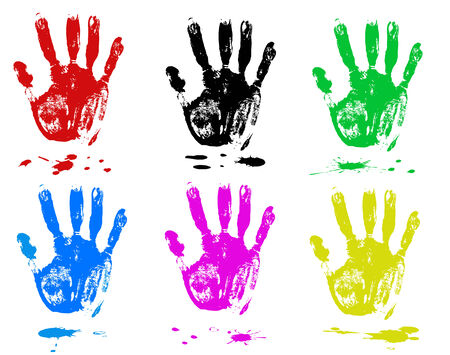 hand print: Multicoloured fingers on a white background. Sets