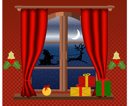 window curtains: Interior of a room in christmas night