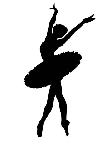 Black silhouette the ballerina on a white background