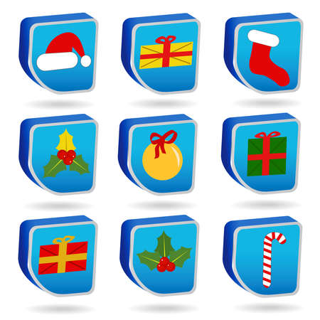 Set of Christmas icons on a white background Stock Vector - 8273864
