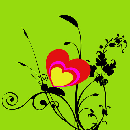 Green background with the butterfly and heart Vector