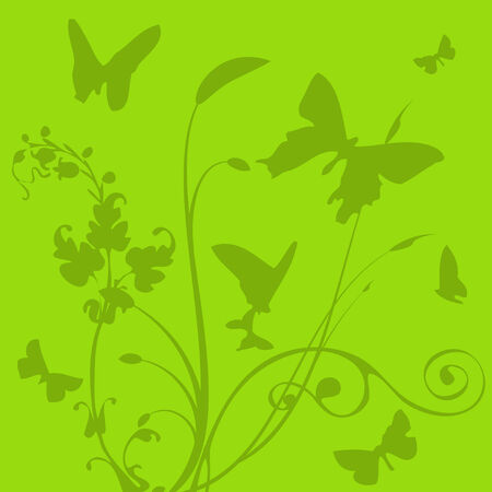 flutter: Green background with silhouettes flutter of the butterflies Illustration