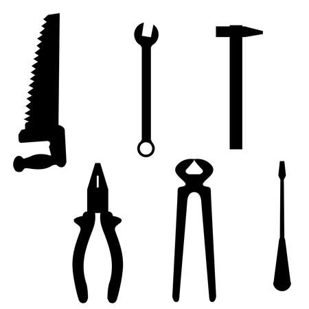 Set of building implements on a white background Stock Vector - 8334827