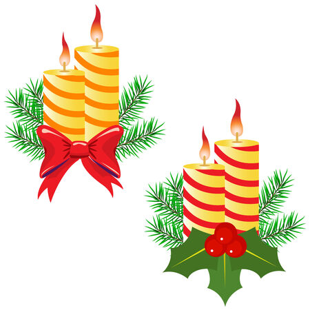 Candles and decorations on a white background Vector