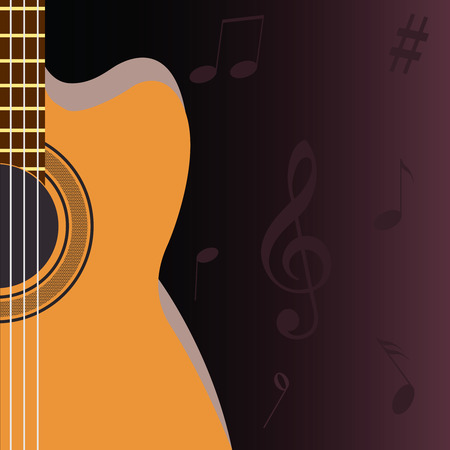 Guitar and musical notes on a dark background Vector