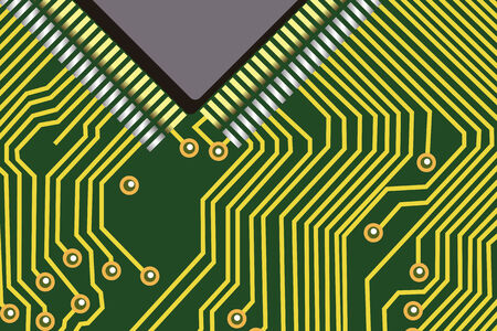 micro chip: Computer chip on a green electronic background